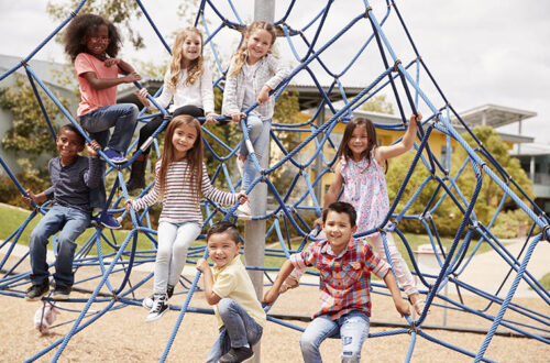 kids climbing playground net