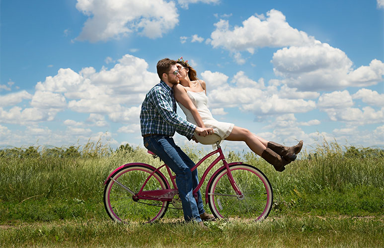 lovers on bike